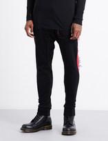 11 By Boris Bidjan Saberi Fringed contrast-trim high-rise cotton jogging bottoms
