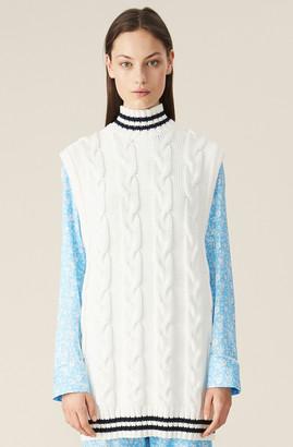 Ganni Cotton Cable Knit Oversized Vest