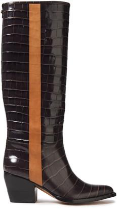 Chloé Vinny Croc-effect Leather Knee Boots