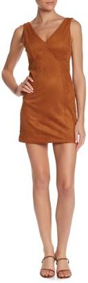 Wild Honey Faux Suede V-Neck Dress