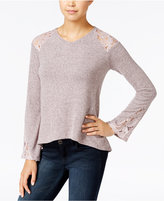 One Hart Juniors' High-Low Lace-Inset Sweater, Only at Macy's