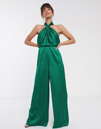 ASOS EDITION ruched halter jumpsuit