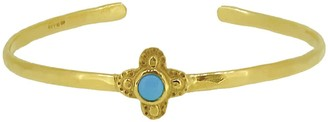 Gold Quatrefoil Clover Bangle With Turquoise