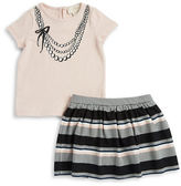 Kate Spade Baby Girls Necklace Graphic Tee and Skirt Set