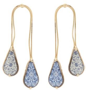 Rosantica Sicilia Double-drop Ceramic-stone Earrings - Blue Multi