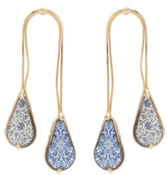 Rosantica Sicilia Double-drop Ceramic-stone Earrings - Womens - Blue Multi