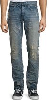 PRPS Distressed Straight-Leg Sanded Denim Jeans, Blue