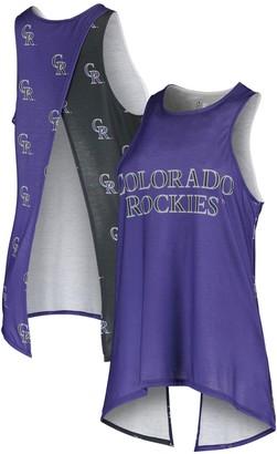 Women's Purple Colorado Rockies Repeat Logo Tie-Back Racerback Tank Top