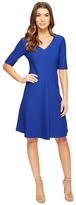 London Times Elbow Sleeve Fit & Flare Dress
