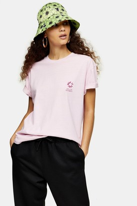 Topshop Womens Escapology Short Sleeve Dragon T-Shirt - Pink