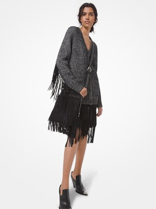 Michael Kors Collection Hand-Knit Cotton Blend Fringed Cardigan