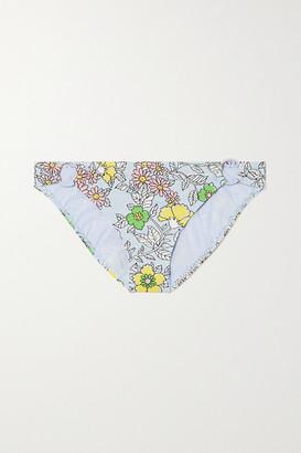Tory Burch Embellished Floral-print Bikini Briefs - Blue