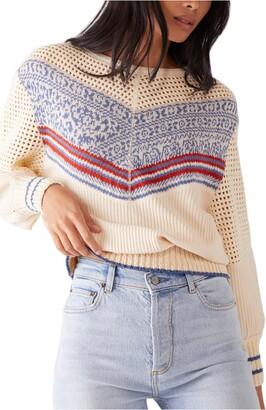 Free People Geo Party Perforated Sweater