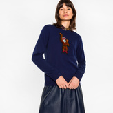Paul Smith Women's Navy Cashmere Sweater With 'Monkey' Embroidery
