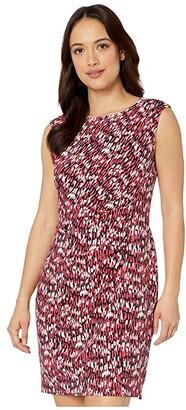 Nic+Zoe Petite Bright Burst Twist Dress (Pink Multi) Women's Clothing