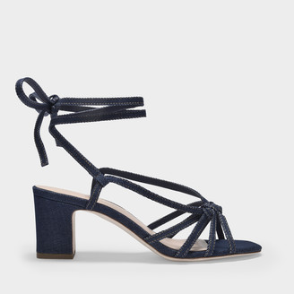 Loeffler Randall Libby Knotted Sandals In Blue Denim