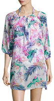 Tommy Bahama Orchid Canopy Three- Quarter Sleeve Off the Shoulder Tunic