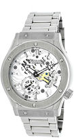 Heritor Automatic Gemini Mens Skeleton Dial Bracelet Silver Tone Watch