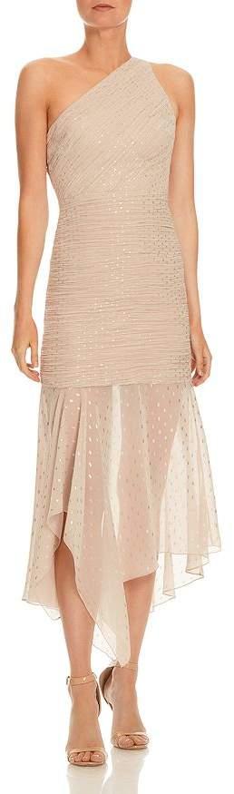Halston One-Shoulder Pleated Chiffon Dress