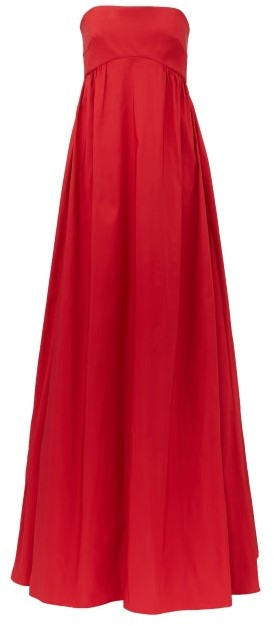 Rochas Strapless Faille Gown - Red