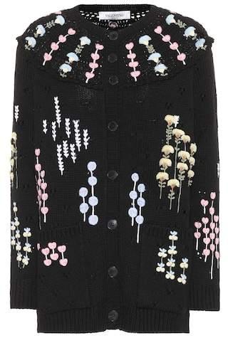 Valentino Embroidered wool cardigan