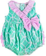 Baby Essentials Turquoise & Pink Quatrefoil Ruffle Bubble Bodysuit - Infant