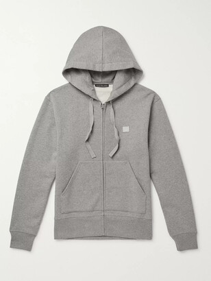 Acne Studios Ferris Logo-Appliqued Melange Fleece-Back Cotton-Jersey Zip-Up Hoodie