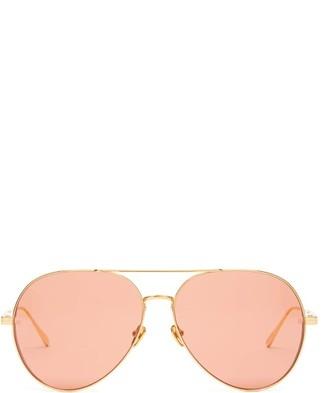 Linda Farrow Aviator Metal Sunglasses - Womens - Red Gold