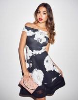 Quiz Floral Print Bardot Dress