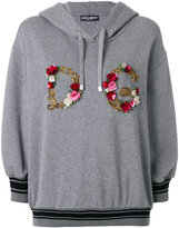 Dolce & Gabbana floral embroidery logo hoodie