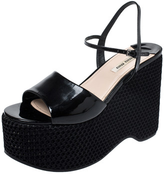 Miu Miu Black Leather Mesh Wedge Paltform Ankle Strap Sandals Size 38