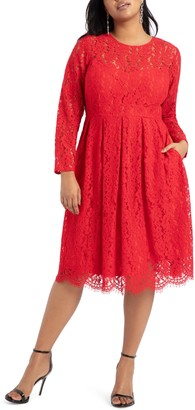 ELOQUII Lace Long Sleeve Fit & Flare Cotton Blend Dress
