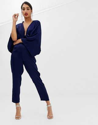 ASOS DESIGN drape kimono jumpsuit with ultra plunge and peg leg