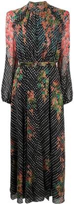 Saloni Floral Print Silk Dress
