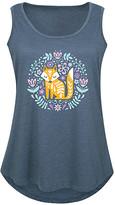 Scandinavian Instant Message Plus Women's Tank Tops HEATHER - Heather Blue Spring Fox Tank - Plus