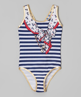Jantzen Blue & White Stripe One-Piece - Girls