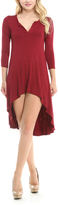 Celeste Burgundy Notch Neck Hi-Low Dress