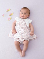 Vertbaudet Baby Dress with Butterfly sleeves, Bloomer Shorts & Bolero Outfit Set