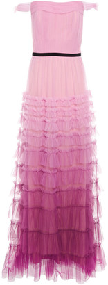Marchesa Off-the-shoulder Tiered Degrade Tulle Gown