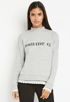 Forever 21 FOREVER 21+ Contemporary Comme Graphic Lace-Trimmed Sweatshirt