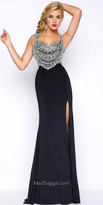 Mac Duggal Illusion Beaded Back Jersey Column Prom Dress