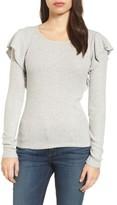 Lucky Brand Women's Ruffle Trim Ribbed Sweater