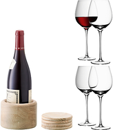 LSA International Red Wine Glasses and Oak Wood Coasters, Set of 4, 750ml