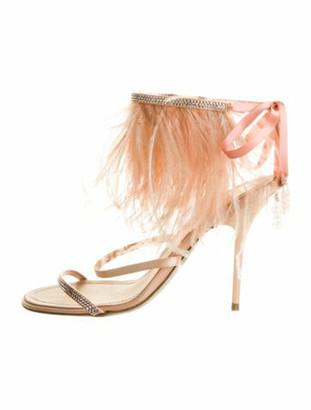 Rene Caovilla Leather Fur Trim Sandals Pink