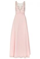 Quiz Pink Chiffon Embellished High Neck Tulle Maxi Dress