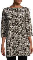 Joan Vass Leopard-Print Velour 3/4-Sleeve Tunic