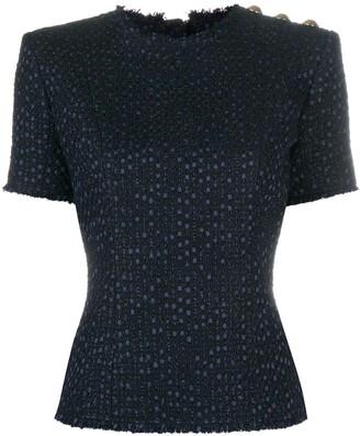 Balmain Button Detail Tweed Top