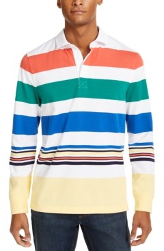 Club Room Men's Roadmap Striped Rugby Long Sleeve Shirt, Created for Macy's