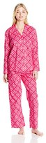 Hanes Women's Plus Size Woven Long Sleeve Coat Pj with Pant