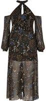 River Island Womens Black floral print cold shoulder maxi dress